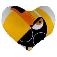 Cute Toucan Bird Cartoon Yellow Black Large 19  Premium Flano Heart Shape Cushions by Mariart