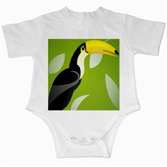 Cute Toucan Bird Cartoon Fly Yellow Green Black Animals Infant Creepers by Mariart