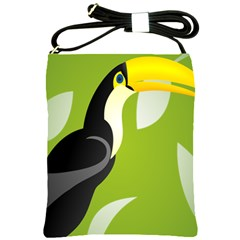 Cute Toucan Bird Cartoon Fly Yellow Green Black Animals Shoulder Sling Bags by Mariart