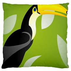 Cute Toucan Bird Cartoon Fly Yellow Green Black Animals Large Cushion Case (two Sides) by Mariart
