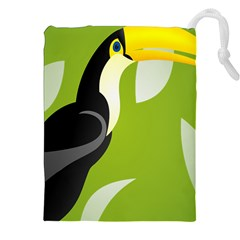 Cute Toucan Bird Cartoon Fly Yellow Green Black Animals Drawstring Pouches (xxl) by Mariart