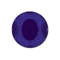 Flower Floral Sunflower Blue Purple Leaf Wave Chevron Beauty Sexy Magnet 3  (round) by Mariart