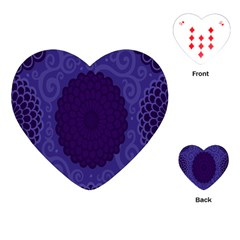 Flower Floral Sunflower Blue Purple Leaf Wave Chevron Beauty Sexy Playing Cards (heart)  by Mariart
