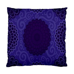 Flower Floral Sunflower Blue Purple Leaf Wave Chevron Beauty Sexy Standard Cushion Case (two Sides) by Mariart