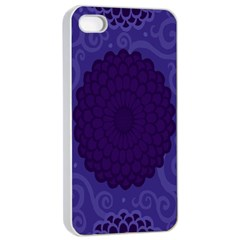 Flower Floral Sunflower Blue Purple Leaf Wave Chevron Beauty Sexy Apple Iphone 4/4s Seamless Case (white) by Mariart