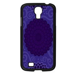 Flower Floral Sunflower Blue Purple Leaf Wave Chevron Beauty Sexy Samsung Galaxy S4 I9500/ I9505 Case (black) by Mariart