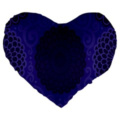 Flower Floral Sunflower Blue Purple Leaf Wave Chevron Beauty Sexy Large 19  Premium Flano Heart Shape Cushions by Mariart