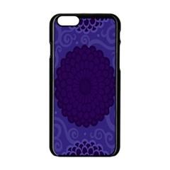 Flower Floral Sunflower Blue Purple Leaf Wave Chevron Beauty Sexy Apple Iphone 6/6s Black Enamel Case by Mariart