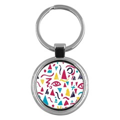 Eye Triangle Wave Chevron Red Yellow Blue Key Chains (round)  by Mariart