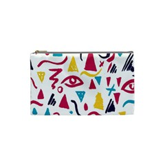 Eye Triangle Wave Chevron Red Yellow Blue Cosmetic Bag (small)  by Mariart