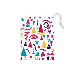 Eye Triangle Wave Chevron Red Yellow Blue Drawstring Pouches (small)  by Mariart