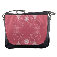 Flower Floral Leaf Pink Star Sunflower Messenger Bags by Mariart