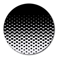 Gradient Circle Round Black Polka Round Mousepads by Mariart