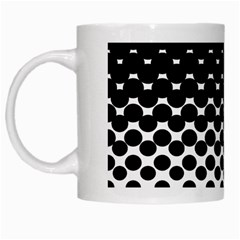 Gradient Circle Round Black Polka White Mugs by Mariart