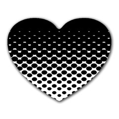 Gradient Circle Round Black Polka Heart Mousepads by Mariart