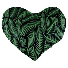 Coconut Leaves Summer Green Large 19  Premium Flano Heart Shape Cushions by Mariart