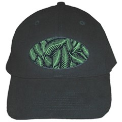 Coconut Leaves Summer Green Black Cap by Mariart