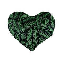Coconut Leaves Summer Green Standard 16  Premium Flano Heart Shape Cushions by Mariart