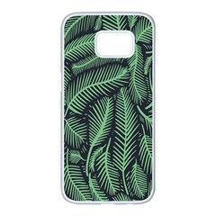 Coconut Leaves Summer Green Samsung Galaxy S7 Edge White Seamless Case by Mariart
