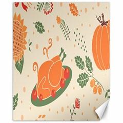 Happy Thanksgiving Chicken Bird Flower Floral Pumpkin Sunflower Canvas 16  X 20   by Mariart