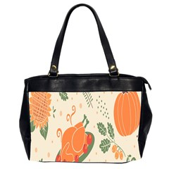 Happy Thanksgiving Chicken Bird Flower Floral Pumpkin Sunflower Office Handbags (2 Sides)  by Mariart