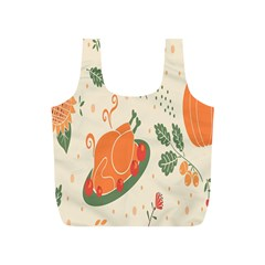 Happy Thanksgiving Chicken Bird Flower Floral Pumpkin Sunflower Full Print Recycle Bags (s)  by Mariart