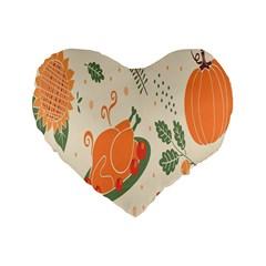 Happy Thanksgiving Chicken Bird Flower Floral Pumpkin Sunflower Standard 16  Premium Flano Heart Shape Cushions by Mariart
