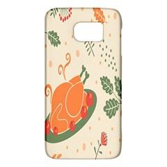 Happy Thanksgiving Chicken Bird Flower Floral Pumpkin Sunflower Galaxy S6 by Mariart