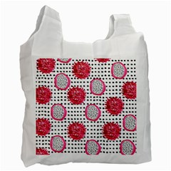 Fruit Patterns Bouffants Broken Hearts Dragon Polka Dots Red Black Recycle Bag (two Side)  by Mariart