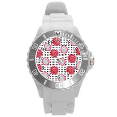 Fruit Patterns Bouffants Broken Hearts Dragon Polka Dots Red Black Round Plastic Sport Watch (l) by Mariart