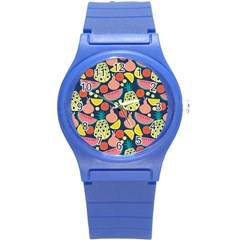 Fruit Pineapple Watermelon Orange Tomato Fruits Round Plastic Sport Watch (s) by Mariart