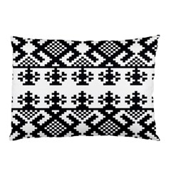 Model Traditional Draperie Line Black White Triangle Pillow Case by Mariart