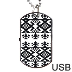 Model Traditional Draperie Line Black White Triangle Dog Tag Usb Flash (two Sides) by Mariart