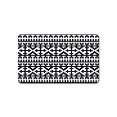 Model Traditional Draperie Line Black White Magnet (name Card) by Mariart