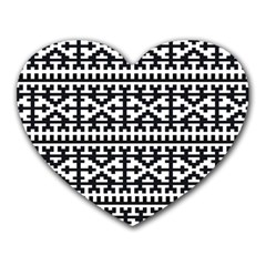 Model Traditional Draperie Line Black White Heart Mousepads by Mariart