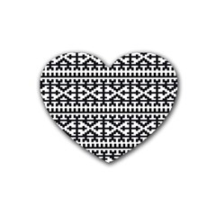 Model Traditional Draperie Line Black White Heart Coaster (4 Pack)  by Mariart
