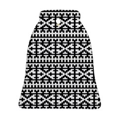 Model Traditional Draperie Line Black White Bell Ornament (two Sides) by Mariart