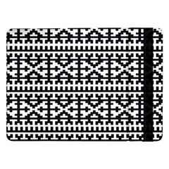 Model Traditional Draperie Line Black White Samsung Galaxy Tab Pro 12 2  Flip Case by Mariart