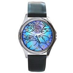Lotus Flower Wall Purple Blue Round Metal Watch by Mariart