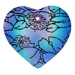 Lotus Flower Wall Purple Blue Ornament (heart) by Mariart