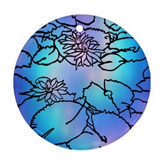 Lotus Flower Wall Purple Blue Round Ornament (two Sides) by Mariart