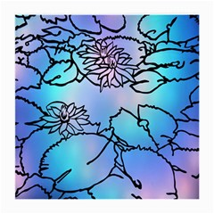 Lotus Flower Wall Purple Blue Medium Glasses Cloth (2 Side) by Mariart