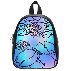 Lotus Flower Wall Purple Blue School Bag (small) by Mariart