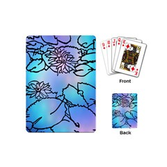 Lotus Flower Wall Purple Blue Playing Cards (mini)  by Mariart