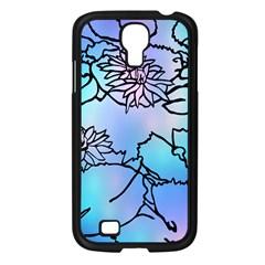 Lotus Flower Wall Purple Blue Samsung Galaxy S4 I9500/ I9505 Case (black) by Mariart