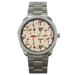 Mushroom Madness Red Grey Brown Polka Dots Sport Metal Watch by Mariart