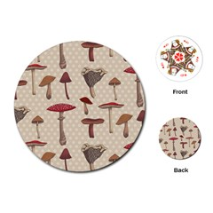 Mushroom Madness Red Grey Brown Polka Dots Playing Cards (round)  by Mariart