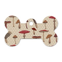 Mushroom Madness Red Grey Brown Polka Dots Dog Tag Bone (two Sides) by Mariart