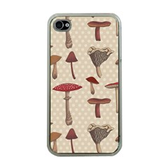 Mushroom Madness Red Grey Brown Polka Dots Apple Iphone 4 Case (clear) by Mariart
