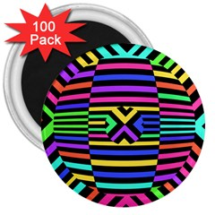 Optical Illusion Line Wave Chevron Rainbow Colorfull 3  Magnets (100 Pack) by Mariart